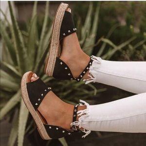 Shoes - Black Platform Studded Espadrilles